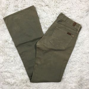 7 For All Mankind 27 100% Cotton Olive Green Flare